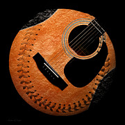 Baseball Digital Art Metal Prints - Guitar Orange Baseball Square Metal Print by Andee Photography