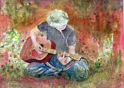 Guitar Painting Originals - Guitar Player by Gulsen Beasley