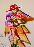 Guitar Player Painting Originals - Guitar Player by Troy Thomas