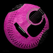 Guitar Raspberry Baseball Print by Andee Photography