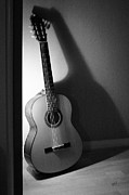 Strings Digital Art Posters - Guitar Still Life In Black And White Poster by Ben and Raisa Gertsberg