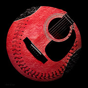Sports Digital Art Metal Prints - Guitar Strawberry Baseball Metal Print by Andee Photography