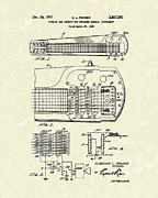 System Drawings Framed Prints - Guitar System 1957 Patent Art Framed Print by Prior Art Design