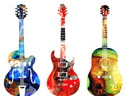 Antique Mixed Media Prints - Guitar Threesome - Colorful Guitars By Sharon Cummings Print by Sharon Cummings