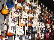 John Telfer Photography Photos - Guitar Wall of Fame by John Telfer