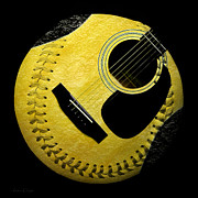 Baseball Digital Art Metal Prints - Guitar Yellow Baseball Square Metal Print by Andee Photography