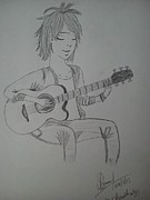 Guitar Drawings Posters - Guitarist Poster by Swati Choudhary
