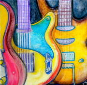 Bright Colors Mixed Media Prints - Guitars Print by Debi Pople