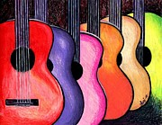 Multicolored Drawing Prints - Guitars Print by Elaan Yefchak