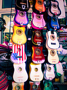 Street Vendors Art - Guitars in San Antonio Market by Sonja Quintero