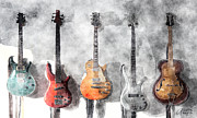 Musical Mixed Media Prints - Guitars On The Wall Print by Arline Wagner