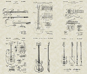 Technical Art Drawings Prints - Guitars Patent Collection Print by PatentsAsArt