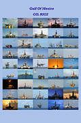 Sea Platform Framed Prints - Gulf of Mexico Oil Rigs Poster Framed Print by Bradford Martin