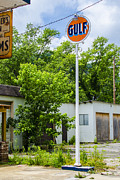 Small Town Life Framed Prints - Gulf Oil Sign Framed Print by Carolyn Marshall