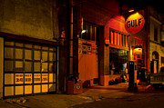 Bisbee Framed Prints - Gulf Oil Vintage Night Time Horizontal Framed Print by Dave Dilli