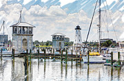 Joan Mccool Metal Prints - Gulfport Harbor Sketch Photo Metal Print by Joan McCool