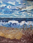 Pallet Knife Painting Originals - Gulls on the beach 1 by Art  Stenberg