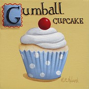 Folk Art  Paintings - Gumball Cupcake by Catherine Holman