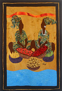 Carribean Tapestries - Textiles Prints - Gumbo Ladies #2 Print by Aisha Lumumba