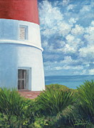 Danielle Perry Painting Framed Prints - Gun Cay Lighthouse Framed Print by Danielle  Perry