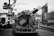 Manhaten Prints - Gun emplacements on the flight deck of the USS Intrepid at the Intrepid Sea Air Space Museum Print by Joe Fox