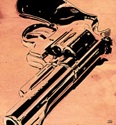 Crime Drawings Framed Prints - Gun number 6 Framed Print by Giuseppe Cristiano