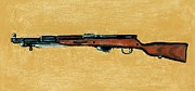 Barrel Pastels Prints - Gun - Rifle - SKS Print by Anastasiya Malakhova