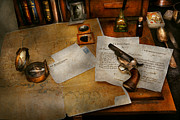 Desk Photo Prints - Gun - The adventure of military life  Print by Mike Savad