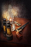 Vintage Lamp Framed Prints - Gun - The adventures code  Framed Print by Mike Savad