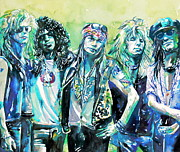 Slash Paintings - GUNS N ROSES - band watercolor portrait by Fabrizio Cassetta