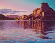 Desert Lake Painting Posters - Gunsight Butte Poster by Cheryl Fecht