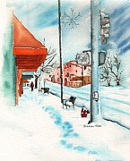 Arizona Artist Originals - Gurley Street Prescott Arizona On a Cold Winters Day Western Town by Sharon Mick