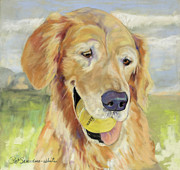 Dog Portraits Pastels Prints - Gus Print by Pat Saunders-White