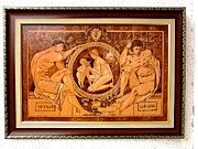 Original Wood Burning Pyrography - Gustav Klimt Idille Vintage Fine Art by Gustav Klimt