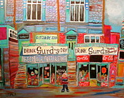 Store Fronts Paintings - Guy Street Montreal Memories by Michael Litvack