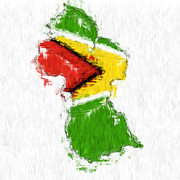 Guyana Prints - Guyana Painted Flag Map Print by Antony McAulay
