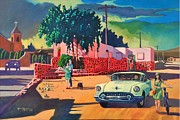 Surrealistic Paintings - Guys Dolls and Pink Adobe by Art West