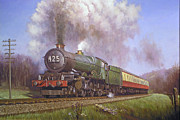 1950s Painting Framed Prints - GWR King class on Dainton bank. Framed Print by Mike  Jeffries