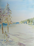 Snowfall Paintings - Gyllbergen Winter by Martin Howard