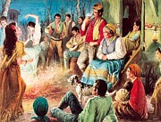 Couples Painting Prints - Gypsies partying Print by English School