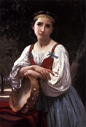 Gypsy Digital Art Metal Prints - Gypsy Girl with a Basque Drum Metal Print by William Bouguereau