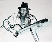 Monotone Paintings - Gypsy Guitarist by Asha Carolyn Young