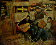 Gypsy Mixed Media - Gypsy Jazz at The Bar Tabac Brooklyn New York by Sol Robbins