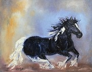 Thunder Paintings - Gypsy Vanner Paint Horse GVP Chasing Thunder by Gayle McGinty