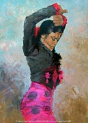 Duende Prints - Gypsy woman dancing Print by Zaafra David