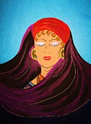 Gypsy Mixed Media - Gypsy Woman With Silver Wolf Eyes by Gina Alequin