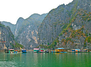 Boats In Harbor Digital Art Posters - Ha Long Bay in China Sea-Vietnam Poster by Ruth Hager