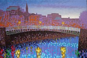 River Framed Prints Prints - Ha Penny Bridge Dublin  cropped Print by John  Nolan