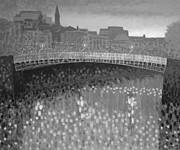 Print Card Framed Prints - Ha Penny Bridge Dublin  grey scale Framed Print by John  Nolan
