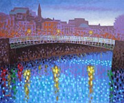 Print Card Framed Prints - Ha Penny Bridge  Framed Print by John  Nolan